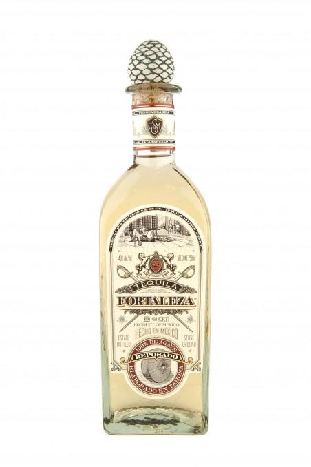 Fortaleza Reposado tequila bottle.
